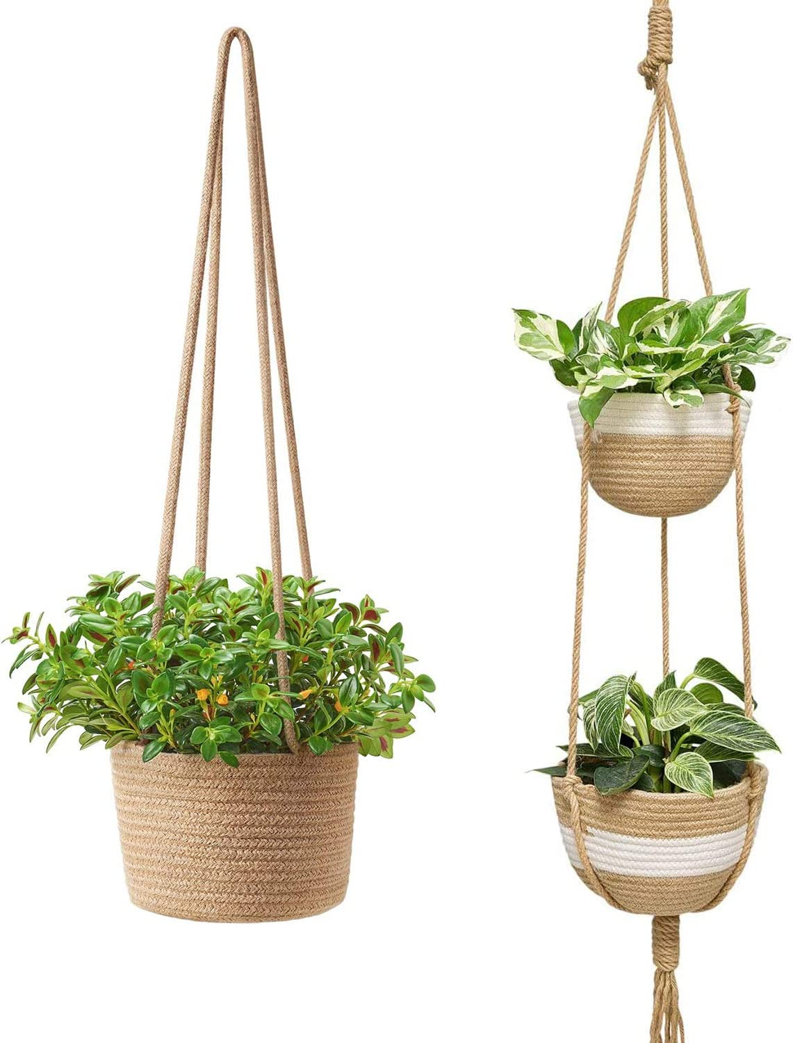 Mkono 2 Pack Jute Rope Hanging Planter Woven Plant Basket Indoor Different Tier Modern Storage Organizer Home Decor