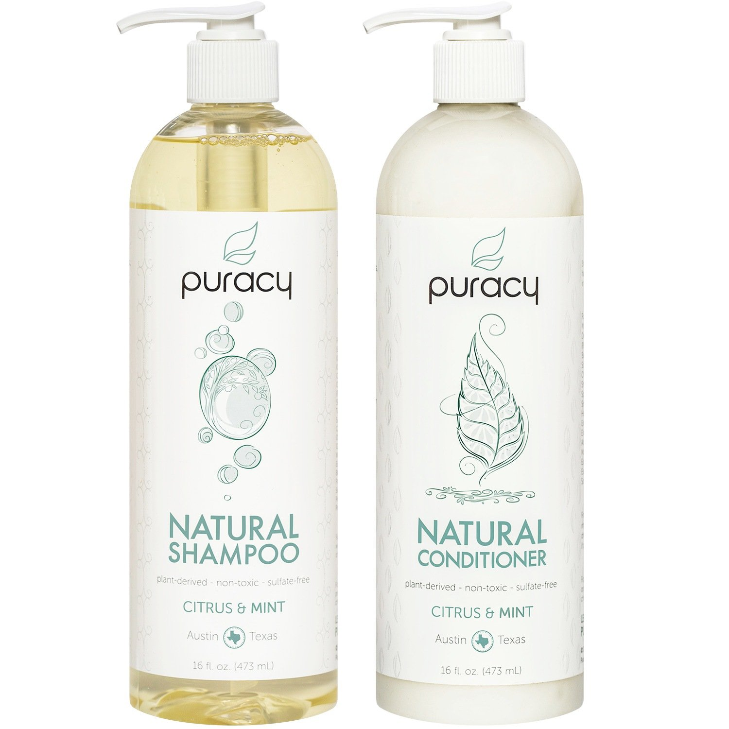 Puracy Natural Shampoo and Conditioner Set [2-Pack], Sulfate-Free, Plant-Powered, Salon-Tested for All Hair Types, 16 Ounce Pump Bottle [Set of 2] by Puracy