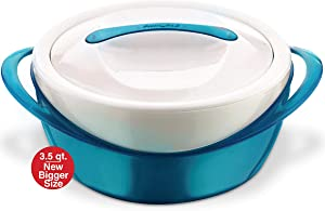 Pinnacle Large Insulated Casserole Dish with Lid 3.6 qt. Elegant Hot Pot Food Warmer/Cooler -Thermal Soup/Salad Serving Bowl Stainless Steel Hot Food Container–Best Gift Set for Moms, Holidays - Teal