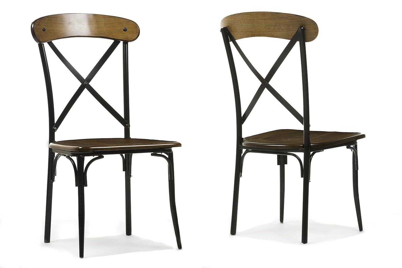 Amazon.com   Baxton Studio Broxburn Light Brown Wood And Metal Dining Chair  (Set Of 2)   Chairs