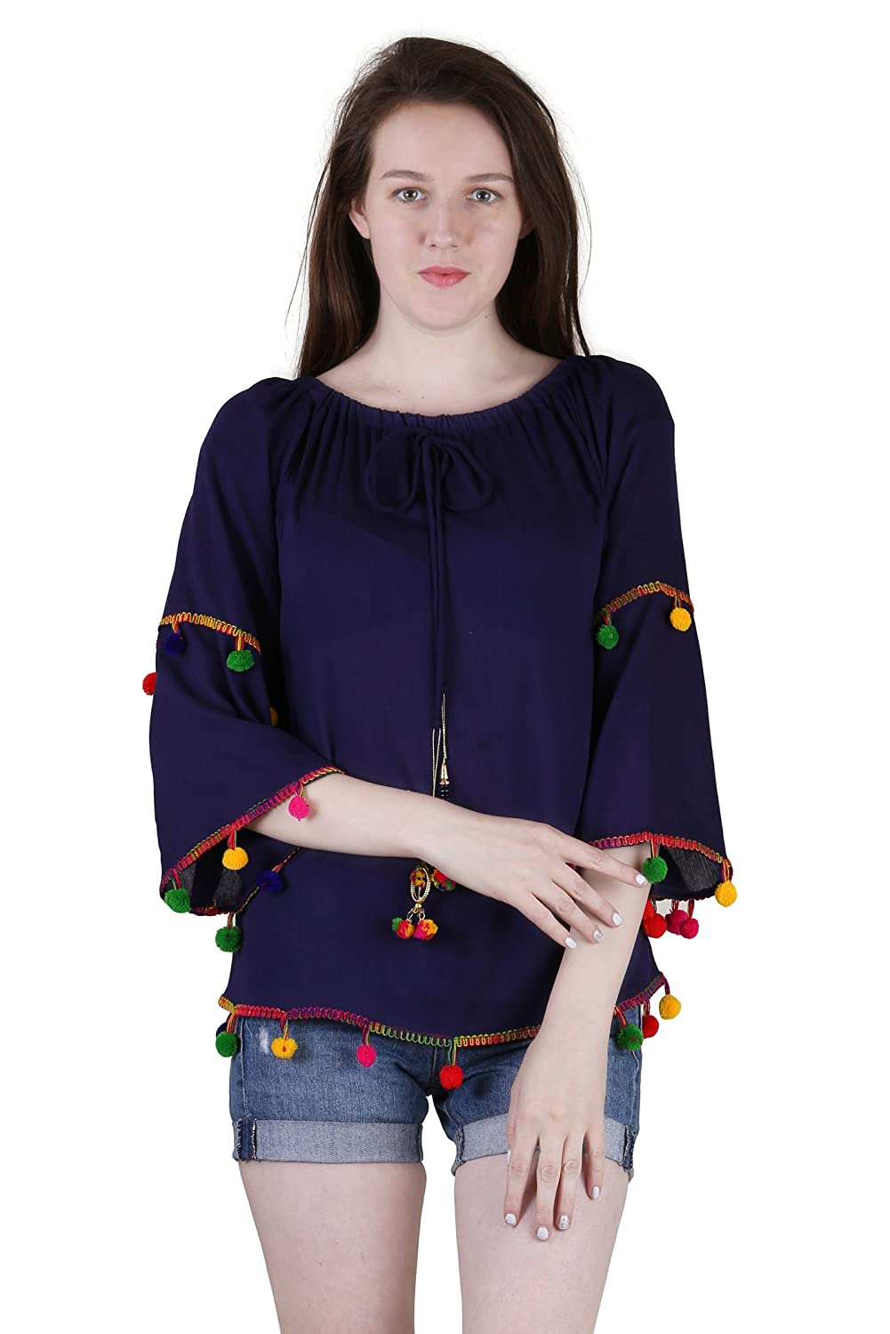 Women's Blue Rayon Embroidered Top