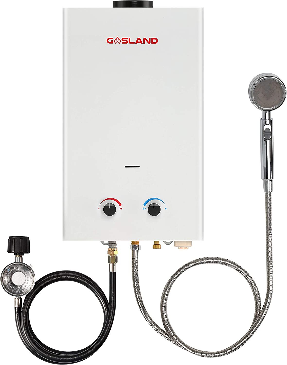 Tankless Water Heater, GASLAND Outdoors Propane Water Heater 10L BS264 2.64GPM, Portable Hot Water Heater for Cabin, Camp Water Heater for RV, Overheating Protection, Easy to Install, White