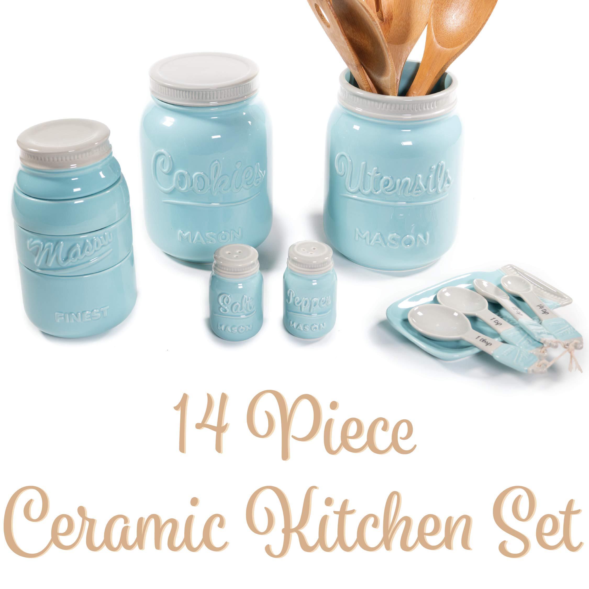 Mason Jar Kitchen Utensil Set - Includes Cookie Jar, Utensil Holder, Measuring Cups, Spoon Rest, Measuring Spoons & Salt/Pepper Shakers (Blue) by Sparrow Decor