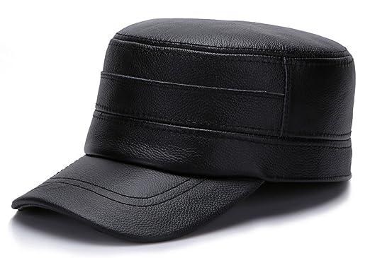 GEMVIE Gorras Sombreros Plana para Hombre Cuero Visera Aire Libre ...