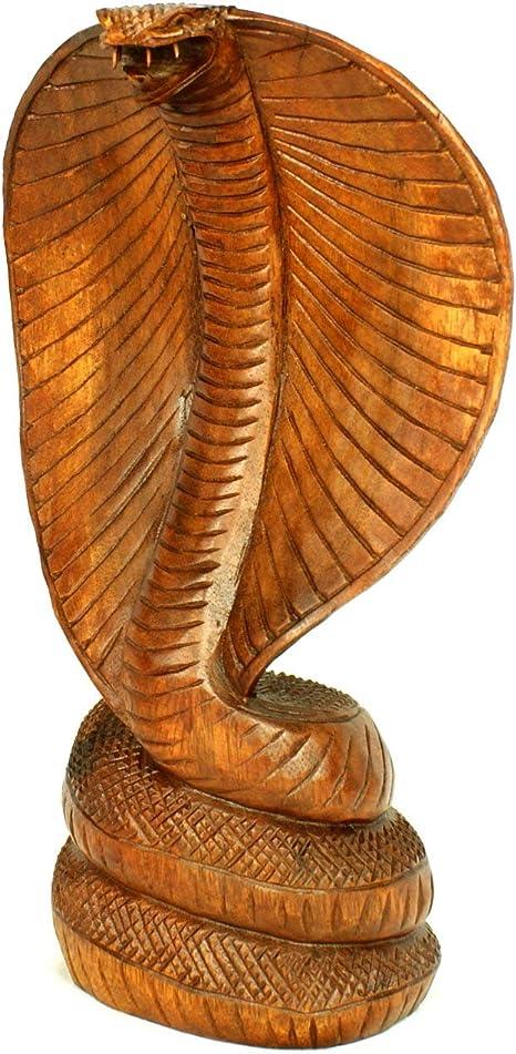 Handcarved 30cm Wood Brown Cobra Snake Statue Ornament Mens Gift Idea