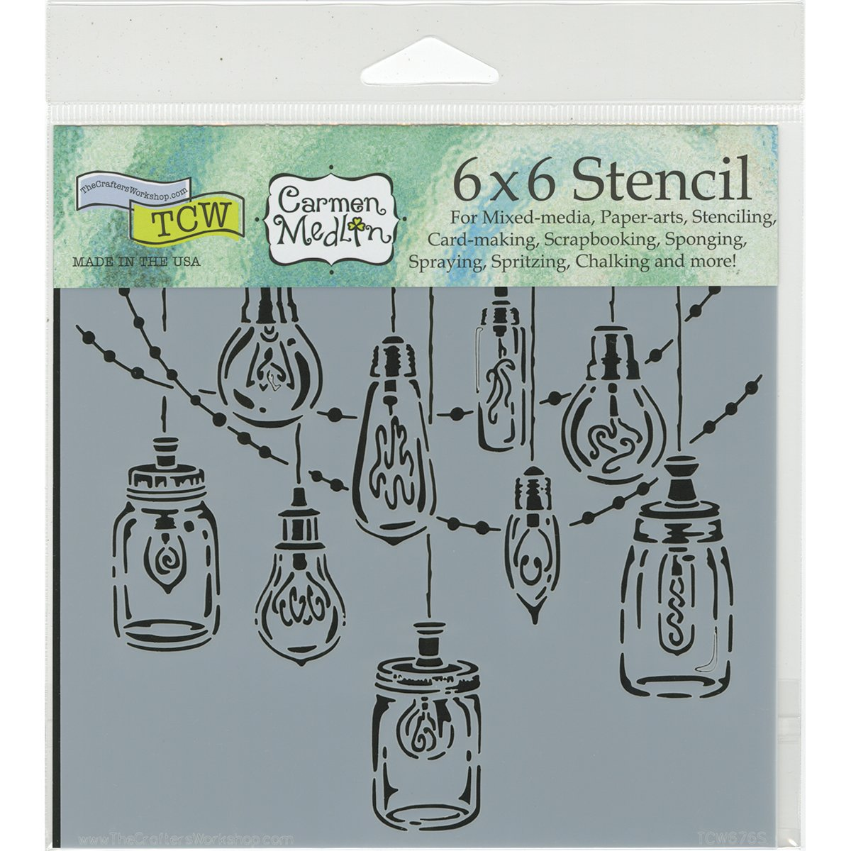 Crafters Workshop Template 6x6-party Lights