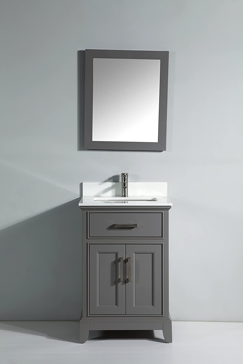 Vanity Art 24  Single Sink Bathroom Set with super White Phoenix Stone Free Mirror VA1024 G Amazon com