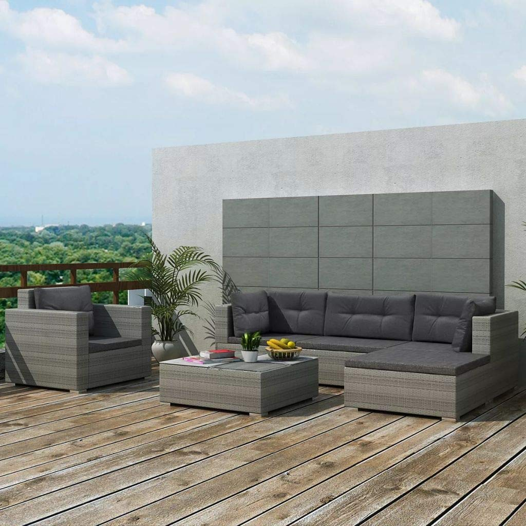 Tidyard 6-TLG. Garten-Lounge-Set mit Auflagen Poly Rattan Grau | Rattan Sitzgruppe | Gartengarnitur |