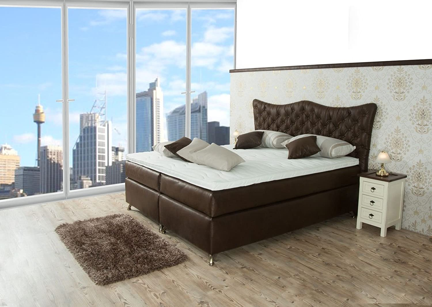 boxspringbett anna sb auch mit bettkasten oder elektrisch erh ltlich 80x200cm 90x200cm. Black Bedroom Furniture Sets. Home Design Ideas