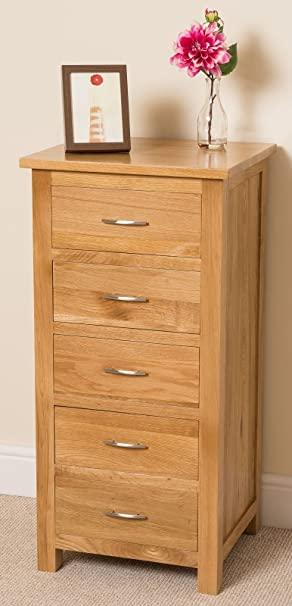 boston solid oak 5 drawer tall boy chest of drawers roll over image to zoom in