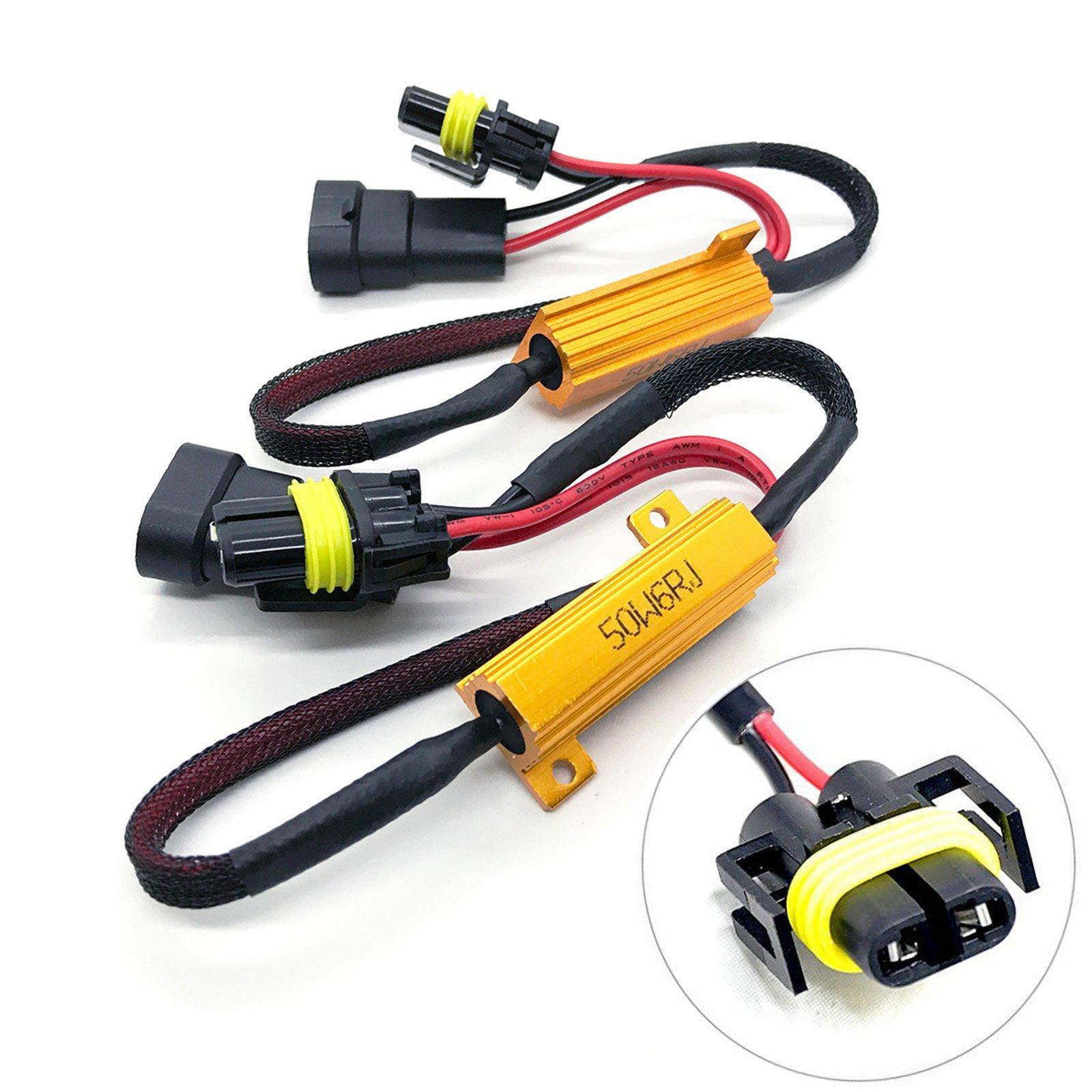 O-NEX HID LED Resistor Kit H11 (H8, H9) Relay Harness Adapter Anti Flicker Error Decoder Warning Canceller