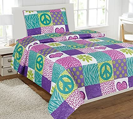 Beau Twin Size Mk Collection 3pc Sheet Set Pink Purple Teel Zebra Leopard Heart Peace  Sign Teens