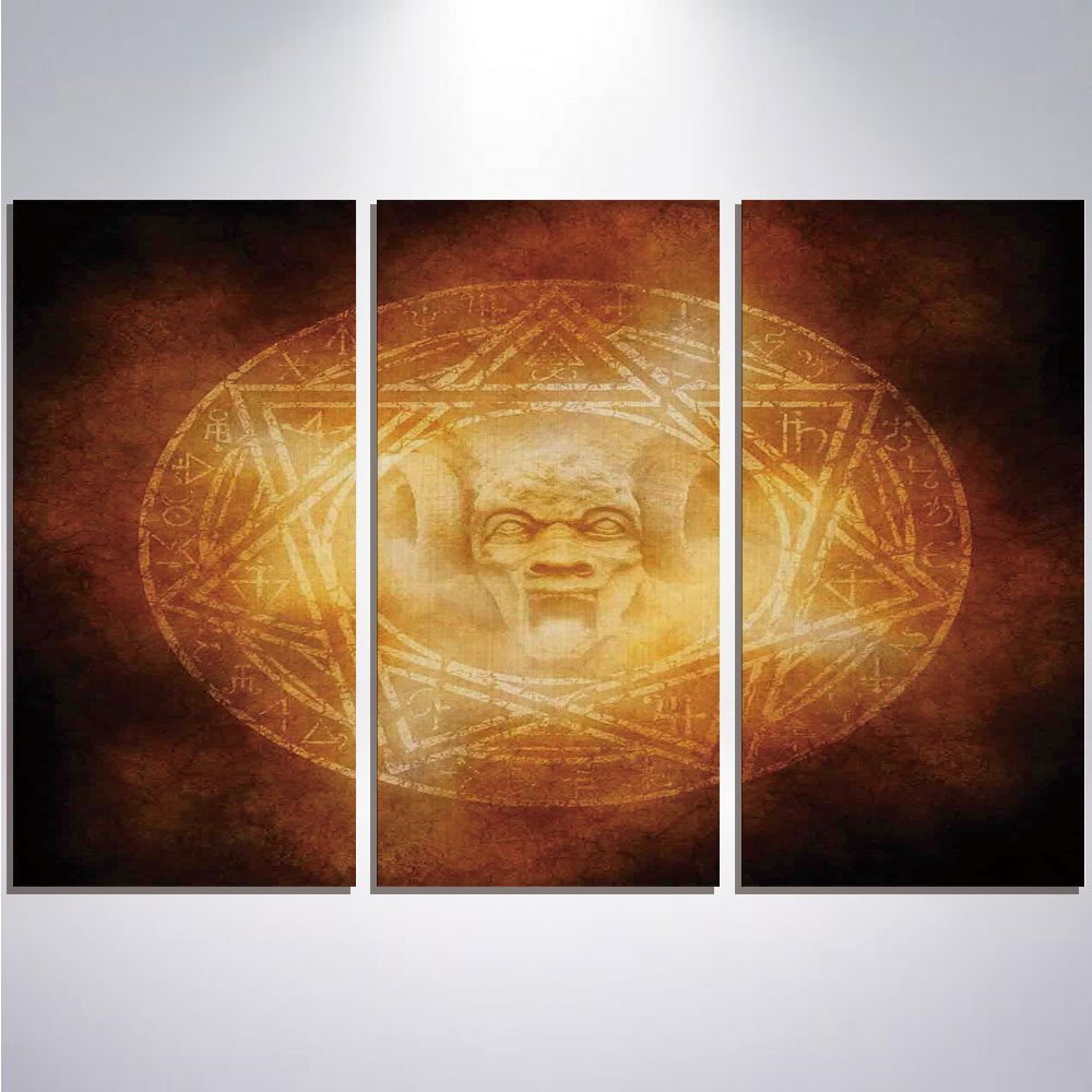 3 Pieces Modern Painting Canvas Prints Wall Art For Home Decoration Horror House Decor Print On Canvas Giclee Artwork For Wall DecorDemon Trap Symbol Logo Ceremony Creepy Ritual Fantasy Paranormal Des