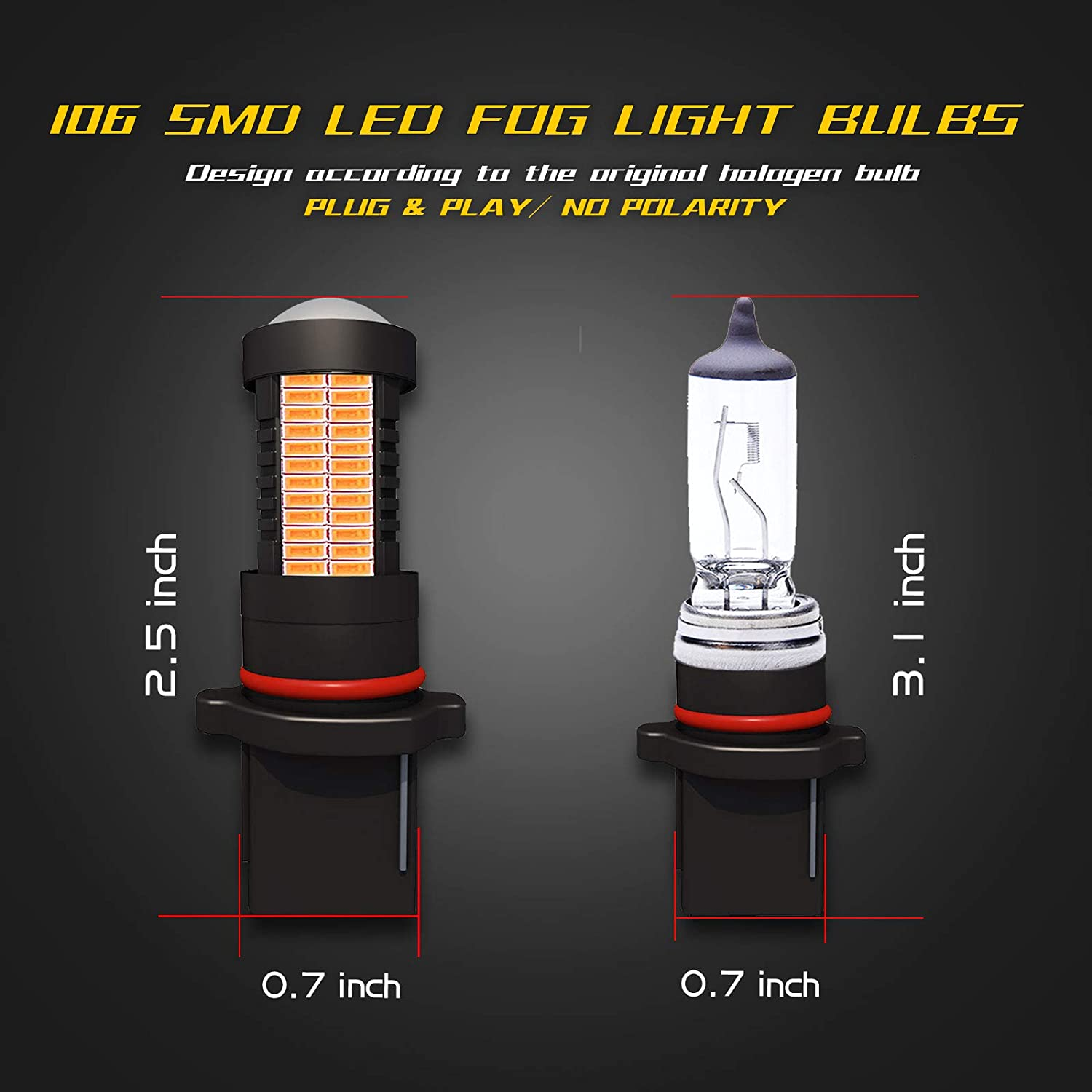 YaaGoo 5202 5201 H16 PSX24W LED DRL Fog Light,Replacement of Halogen HID,360 degree bright,WHITE