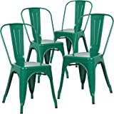Poly and Bark Tolix Style Bistro A Dining Side Chair (Set of 4), Dark Green