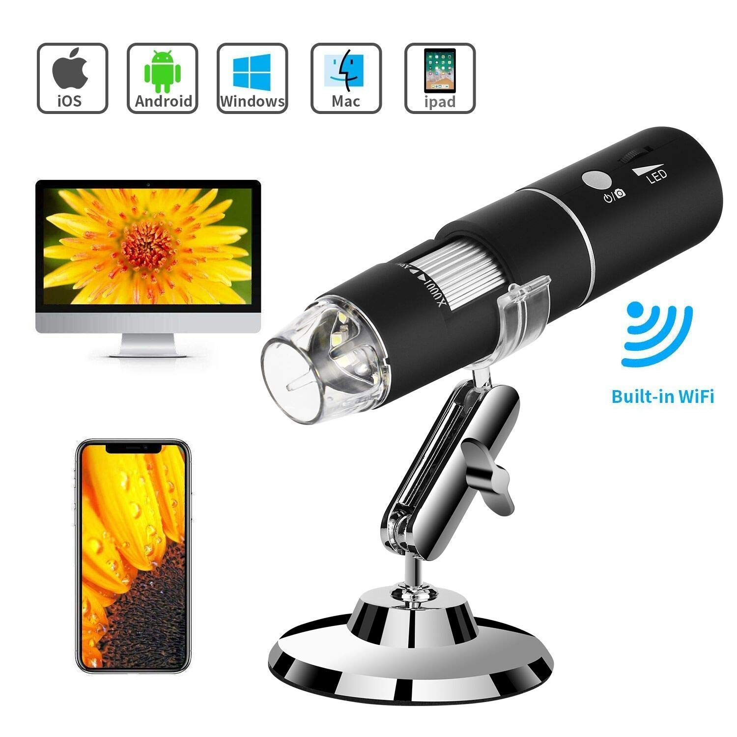 WiFi USB Microscope, TSAAGAN Built in WiFi Wireless Digital Microscope Camera with 1080P HD 2MP 50x to 1000x Magnification Endoscope for Android, iOS, Smartphone, Tablet, Widows, iPad, Mac PC by TSAAGAN