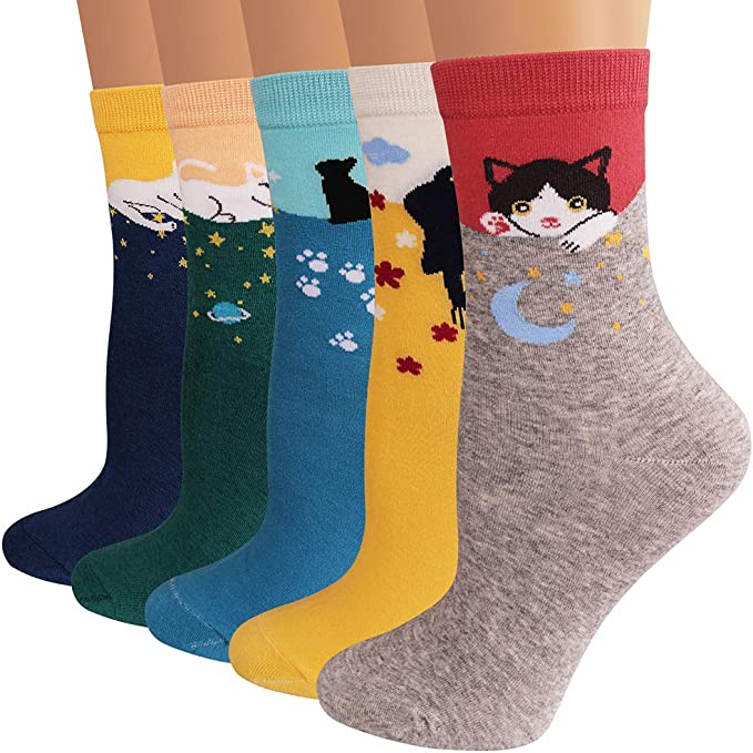 Ambielly Colorful Patterned Fun Comfort Casual socks Lightweight Cotton Women Socks