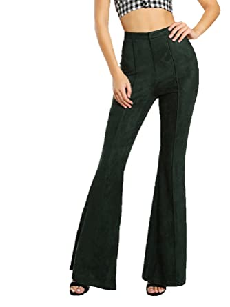 86c8246cca MAKEMECHIC Women s Solid Faux Suede Flare Pants Bell Bottom Trousers  Green  XS