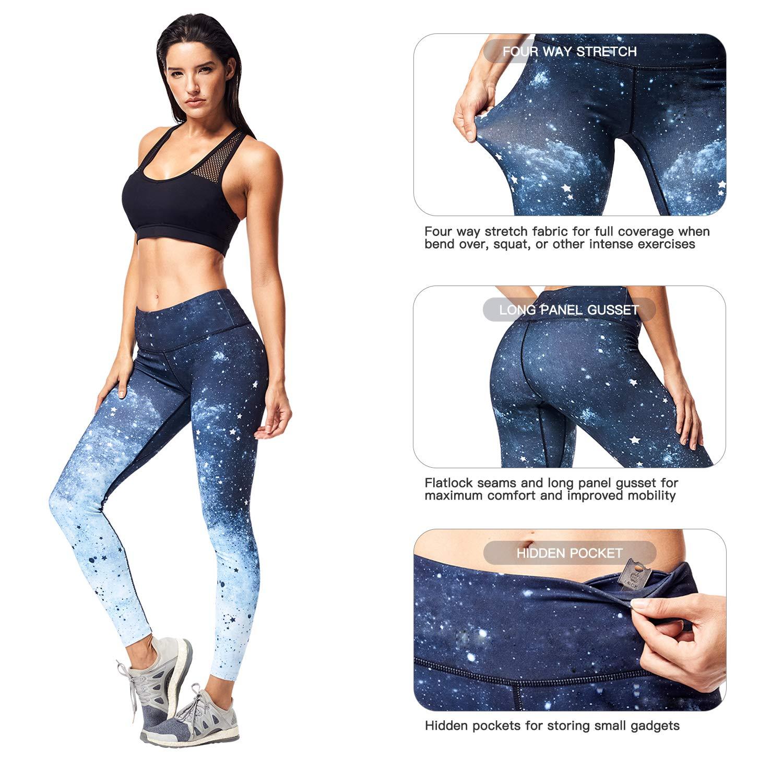 Matymats Women\'s Tummy Control Printed Yoga Pants Quick-Drying Workout Leggings Non See-Through