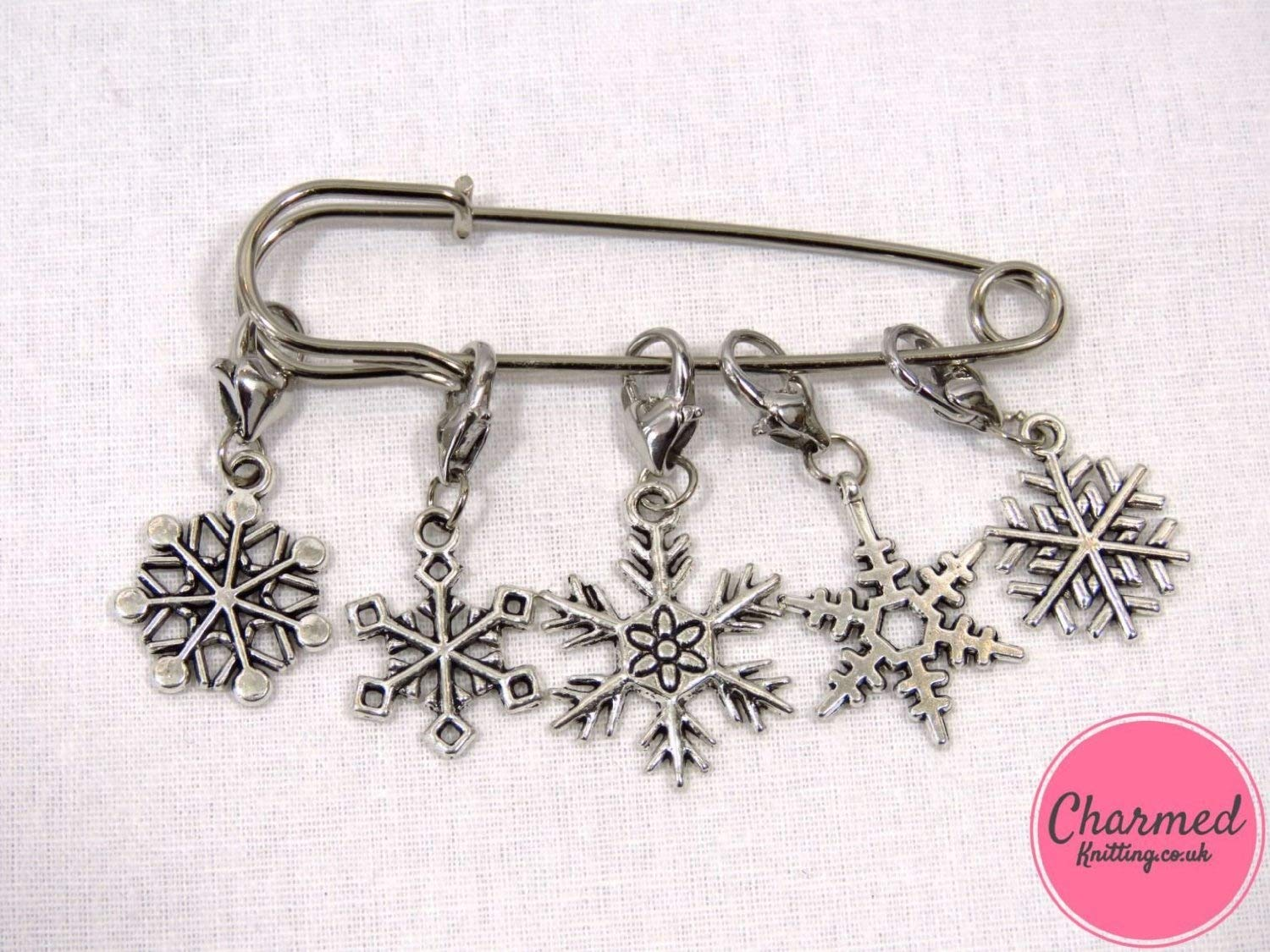 Snowflakes - Crochet Stitch Markers - Silver set of 5 - perfect gift or stocking filler for those who love Crochet Charmed Knitting C020