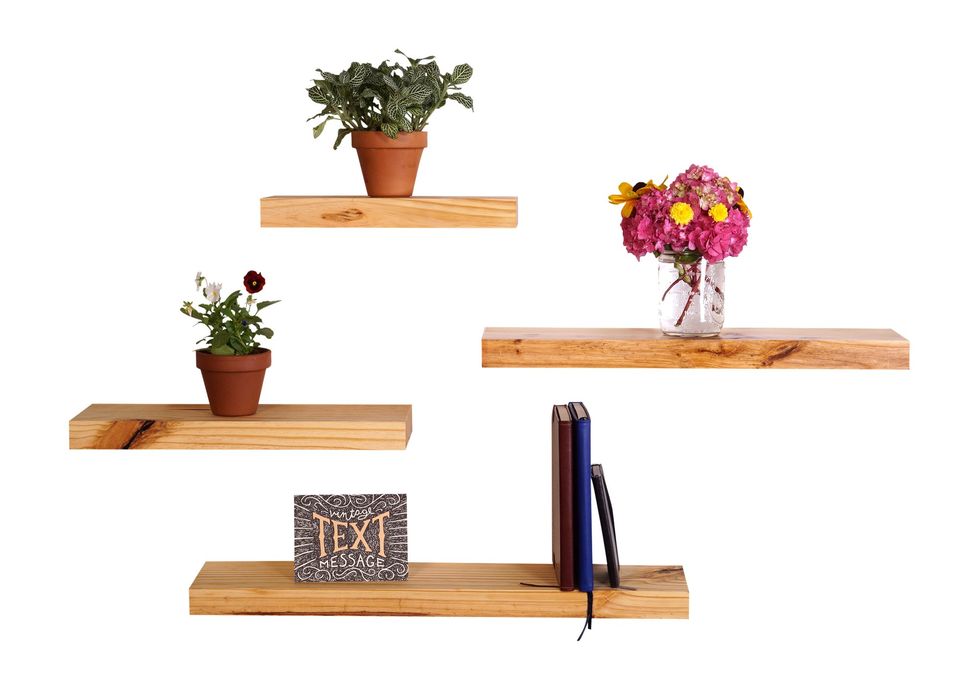 "DAKODA LOVE Clean Edge Floating Shelves | USA Handmade | Wall Mounted Hidden Single Bar Floating Shelf Bracket | Modern Rustic Pine Wood | Set of 4 (Natural, 24"", 20"", 16"", 12"" L x 5.25""D) - 🇺🇸Our Clean Edge style has classic squared corners for a simply timeless look. Rustic Scale Rating: 4 out of 10. Suitable for Kitchen, Bath, Office, Living Room, Dining Room, Bedroom, Bar, Nursery, Game Room, and Garage. These shelves measure 24"", 20"", 16"", 12"" Long x 5.25"" Deep x 1.38"" Thick and hold up to 50 pounds when securely mounted. 🇺🇸These floating shelves are mounted using a long single piece floating shelf bracket, fitted with multiple bracket rods, to make installation a breeze. They also have screw holes every 4 inches to ensure many stud mount options. All necessary floating brackets and hardware are included. 🇺🇸When you purchase shelves from us you receive more value than just a product, going forward we will see you as part of the DAKODA LOVE family. We earnestly want to create shelves you will fall in love with, and if for any reason we missed the mark, please don't hesitate to reach out to and let us fix it. We define ""Satisfaction Guarantee"" as jumping through whatever hoops are necessary to ensure a relaxed, pleasant, and secure experience with us. Period. info@dakodalove.com - wall-shelves, living-room-furniture, living-room - 71i2I%2BrWWOL -"