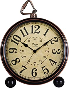 JUSTUP Classic RetroTable Clocks,5.2in European Style Vintage Non-Ticking Silent Desk Alarm Clock with Quartz Movement Battery Operated,HD Glass Lens for Kitchen Indoor Decor,Easy to Read (Arabic)