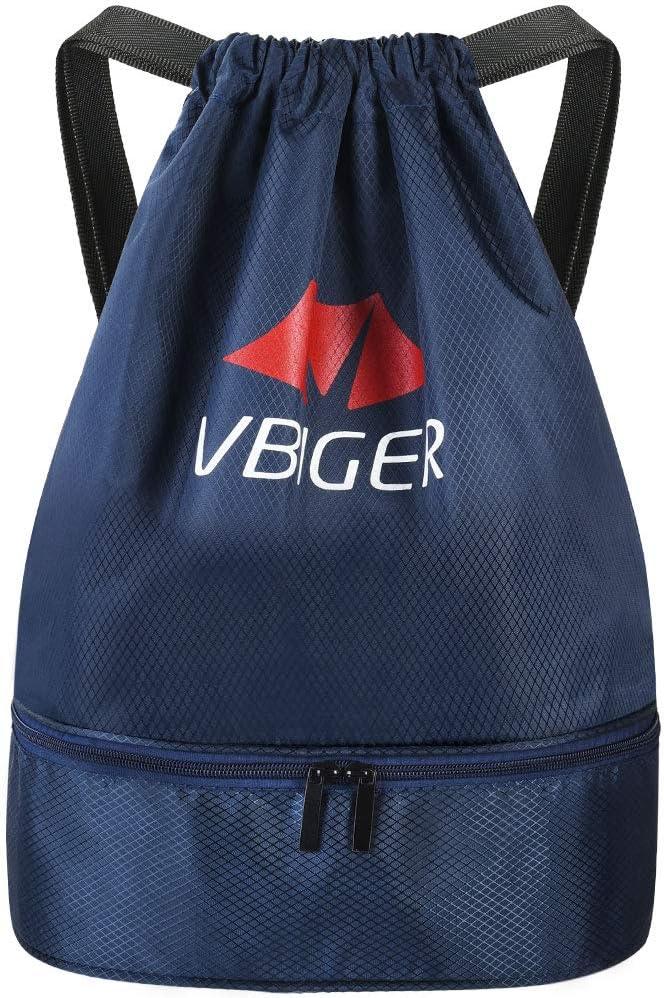 Vbiger Mochila Cuerda Unisex con Bolsas Zapatos para Deporte Gimnasio Senderismo Bicicleta Nadar Azul