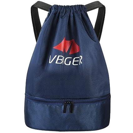 Vbiger Mochila Cuerda Unisex con Bolsas Zapatos para Deporte Gimnasio Senderismo Bicicleta Nadar (Azul)