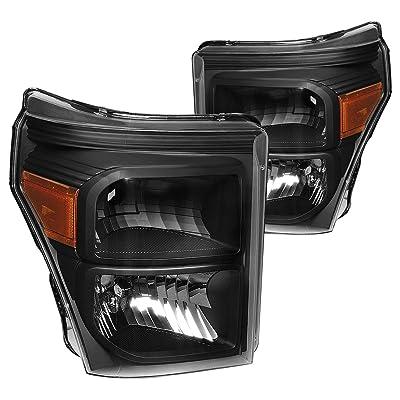 DNA MOTORING HL-OH-FSU13-BK-AM Headlight Assembly, Driver and Passenger Side,Black Housing / Amber Corner: Automotive