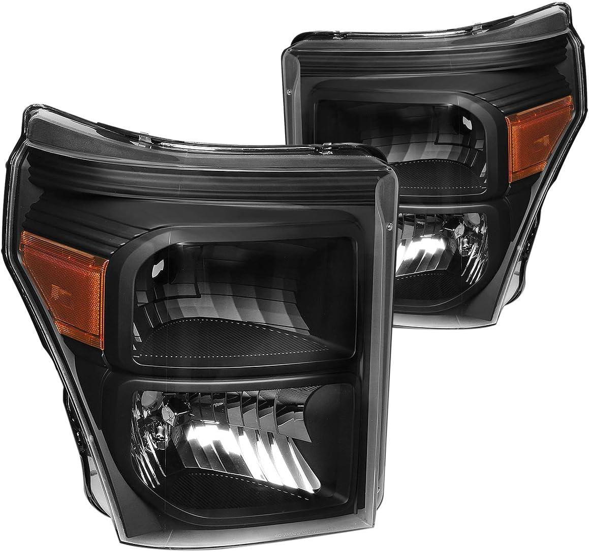 Driver and Passenger Side,Black Housing DNA MOTORING HL-OH-FSU13-BK-AM Headlight Assembly Amber Corner