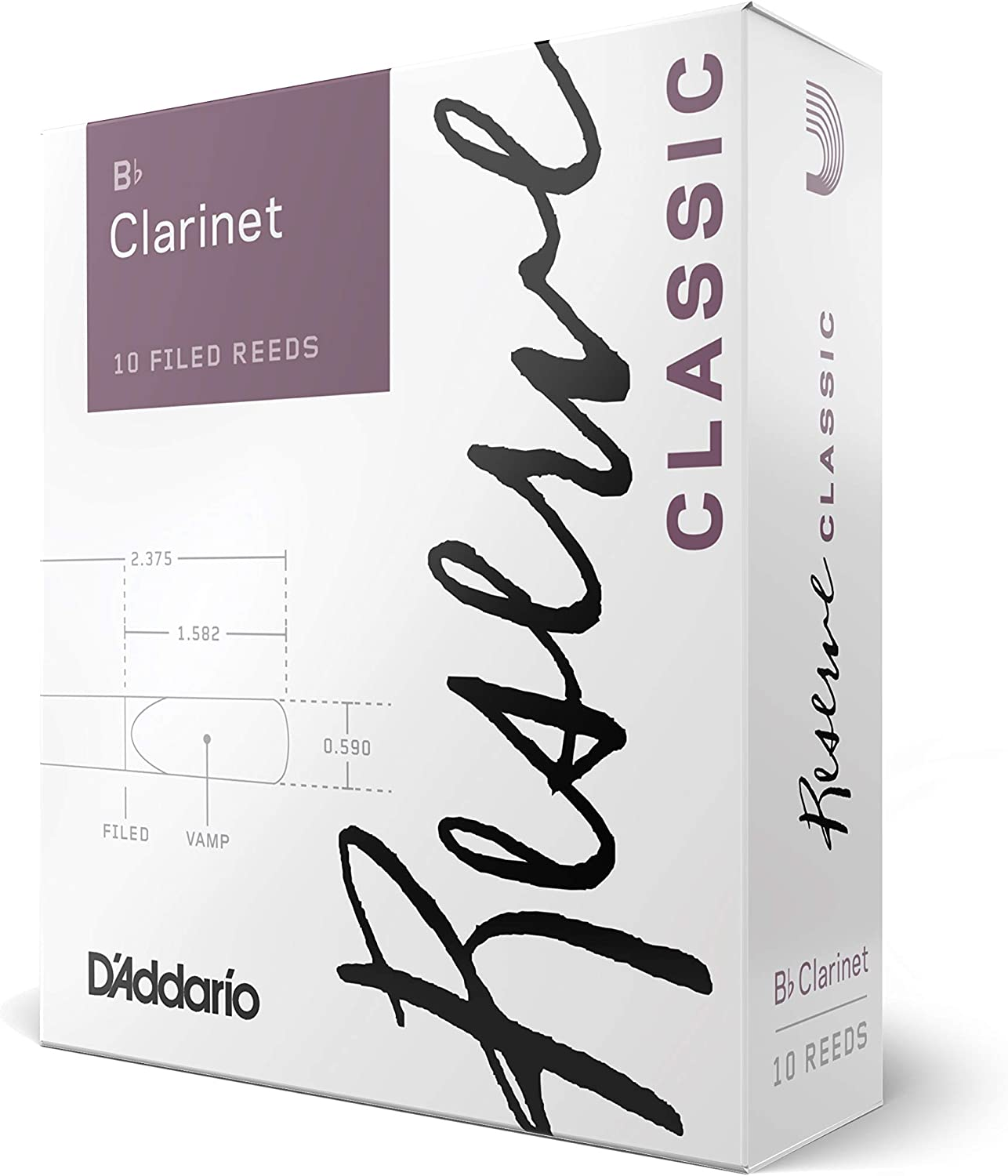 D'Addario Reserve Classic B♭ Clarinet Reeds, Strength 3.5 (10-Pack), Ideal for Advanced Students or Professionals