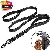 MEKEET Large dog leash, 1.5m Double Handles No Pull Heavy Duty Strong Nylon Dog Leash (Black)