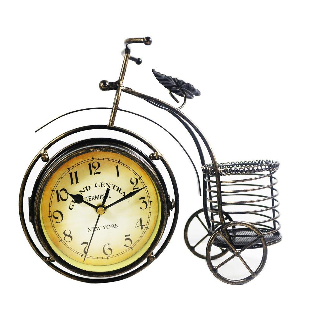 KiaoTime Retro Vintage Double Sided Bronze Metal Bicycle Clock Antique Look Bike Clock Non-Ticking Desk Table Bookcase Shelf Clock