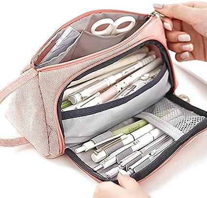 Lápiz Estuche para lápices Estuche para bolígrafos grande Organizador Lienzo Lápiz Bolsa Cremallera Caja de almacenamiento portátil: Amazon.es: Oficina y papelería