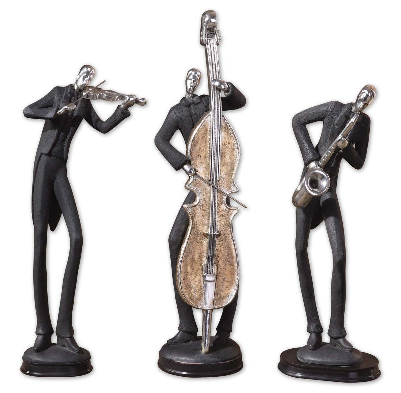 Intelligent Design Jazz Trio Statue Set Black Silver Musicians Cello Saxophone D cor