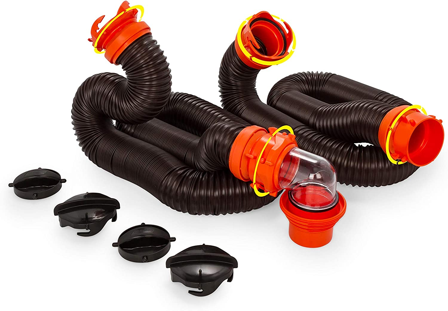 Camco RhinoFLEX 20-Foot RV Sewer Hose Kit, Includes Swivel Fittings and Transparent Elbow with 4-In-1 Dump Station Fitting, Storage Caps Included (39741)