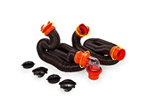 Camco 20' RhinoFLEX 20-Foot RV Sewer Hose Kit, Swivel Transparent Elbow with 4-in-1 Dump Station Fitting-Storage Caps Included (39742)