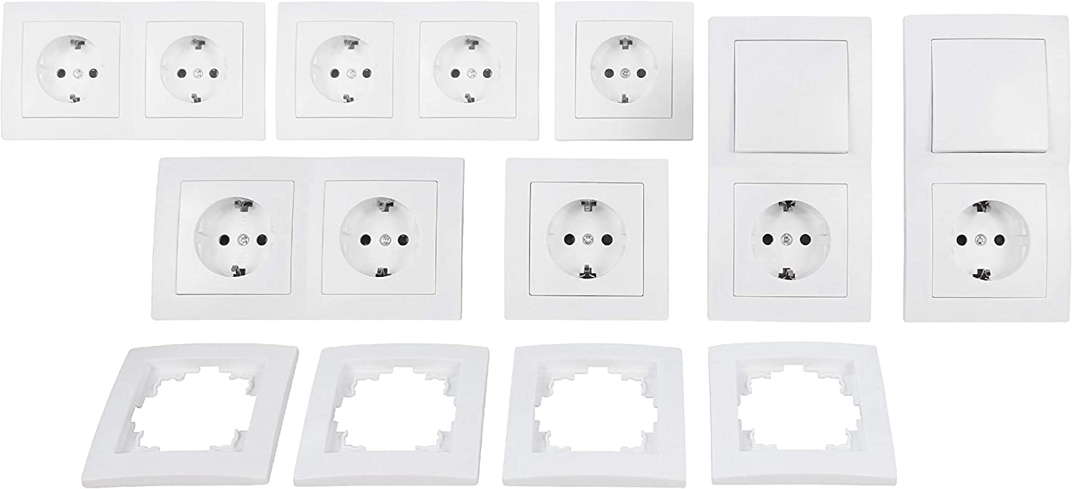 MC POWER 1534897 McPower Flair - Juego de enchufes e interruptores de pared con seguro para niños (23 piezas), color blanco