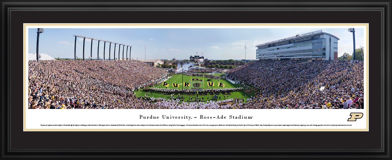 Purdue Football - 44x18-inch Double Mat, Deluxe Framed Picture by Blakeway Panoramas by Blakeway Worldwide Panoramas, Inc.