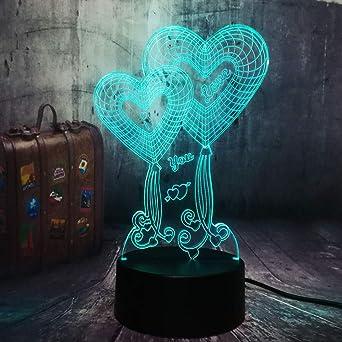 Amor 3D Lámpara De Escritorio Mesa 7 Cambiar El Color Botón Táctil ...