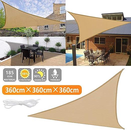 gracosy Toldo Vela de Sombra Triangular HDPE Protección Rayos UV, 3.6 * 3.6 * 3.6m, para Patio, Exteriores, Jardín, Balcón, Resistente Transpirable, Prueba Viento: Amazon.es: Jardín