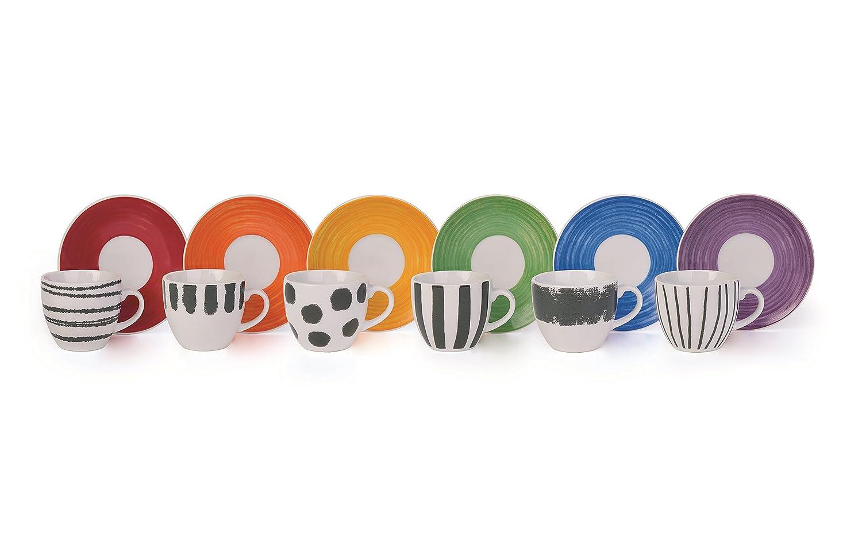Molecuisine Set Kaffeetasse mit Untertasse 6 UDS. Style 90 cl Mehrfarbig 60355 60355_Decoroassortito