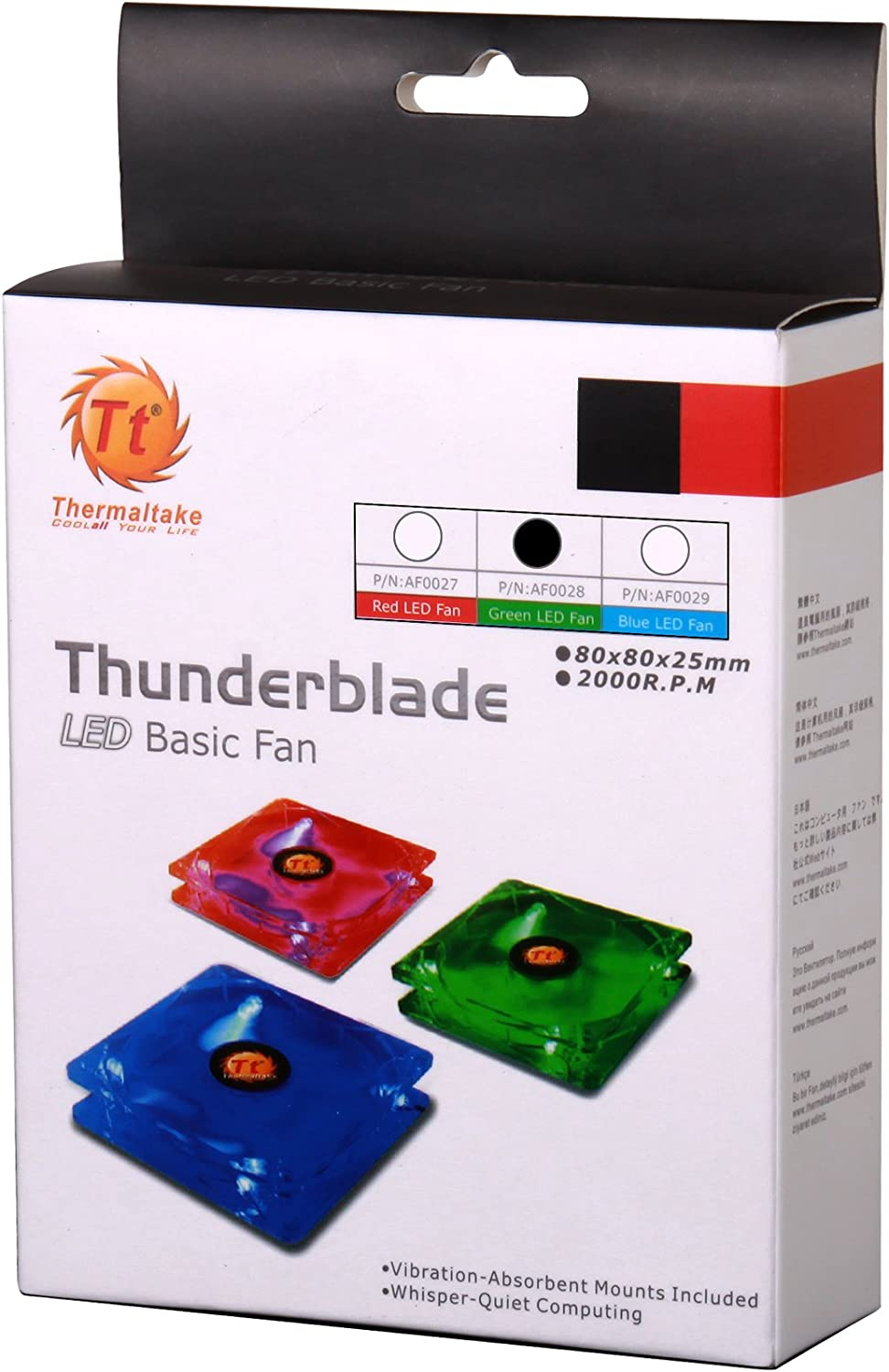 Thermaltake Thunderblade 80 mm 4 Led Case Fan 3 and 4 Pin 21 dBA AF0028 Green