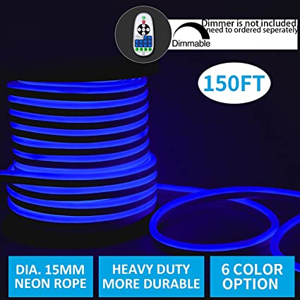 Amazon led neon lights shine decor dimmable blue rope lights led neon lightsshine decor dimmable blue rope lights update waterproof 2835 120leds aloadofball Choice Image