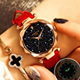 Ladies Analog Quartz Watch Shining Sparkle Glitter Starry Sky Phosphorescen Watch Dial with Glittered Rhinestone Watch for Women and Girls