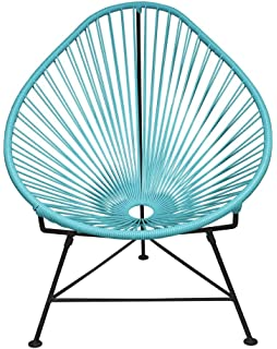 Innit Designs Baby Acapulco Chair, Blue Weave On Black Frame