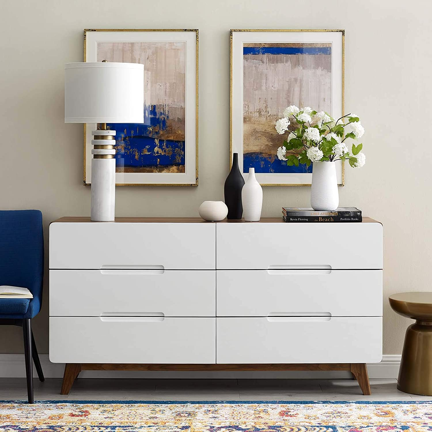 Modway Origin Contemporary Mid-Century Modern 6-Drawer Bedroom Dresser in Walnut White