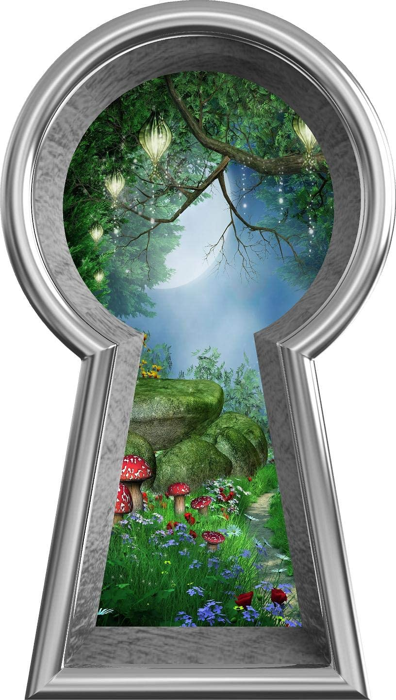 "18"" Silver Keyhole 3D Window Wall Decal Enchanted Lantern Forest Alice in Wonderland Kids Room Decor Fantasy Mushroom Fairy Tale Removable Vinyl Wall Sticker - 18"" Tall x 10.2"" Wide"