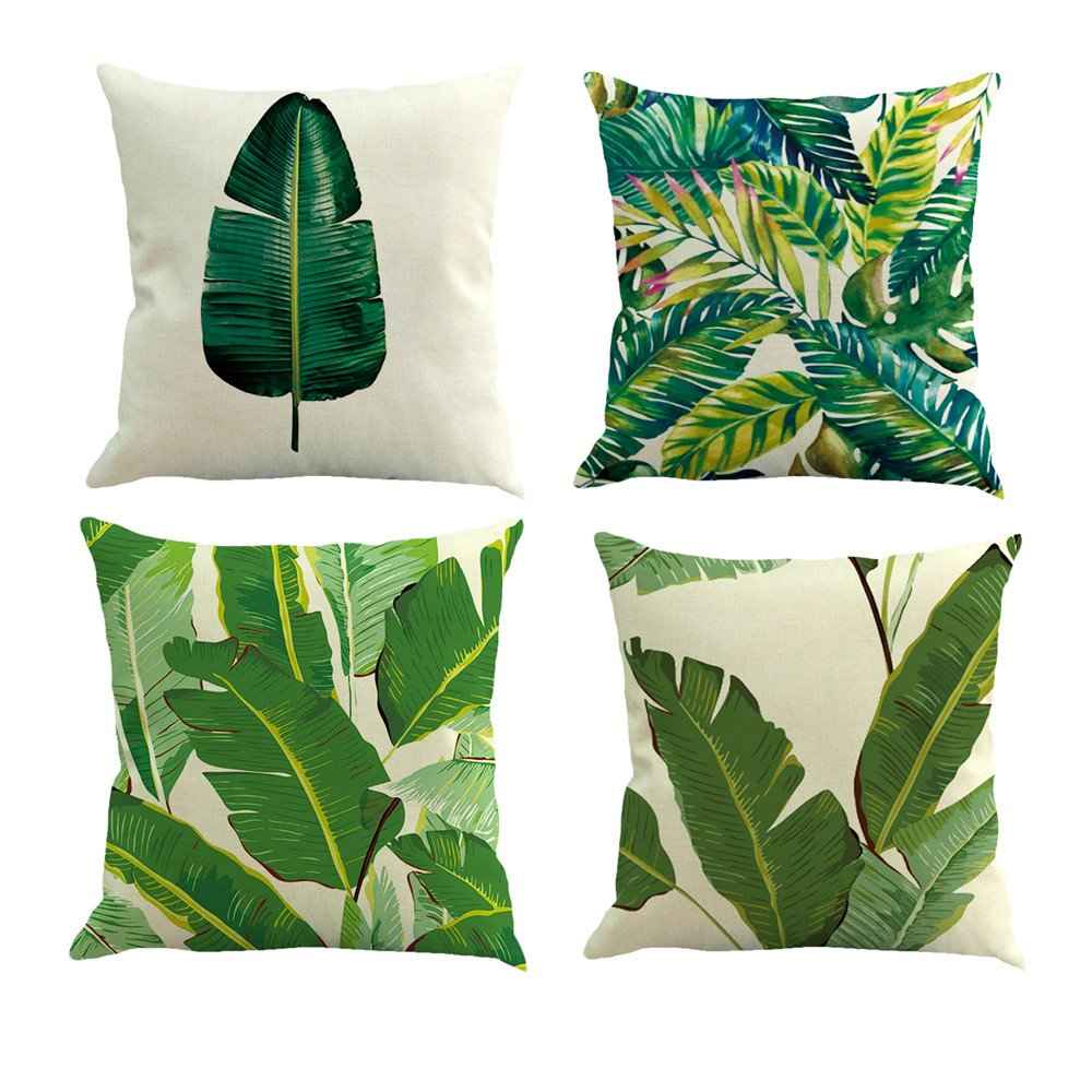 Pack of 4 Decorative Cushion Cover Cotton Linen Throw Pillow Case Cover Sofa Home Décor ,18''18'',Tropical Leaves
