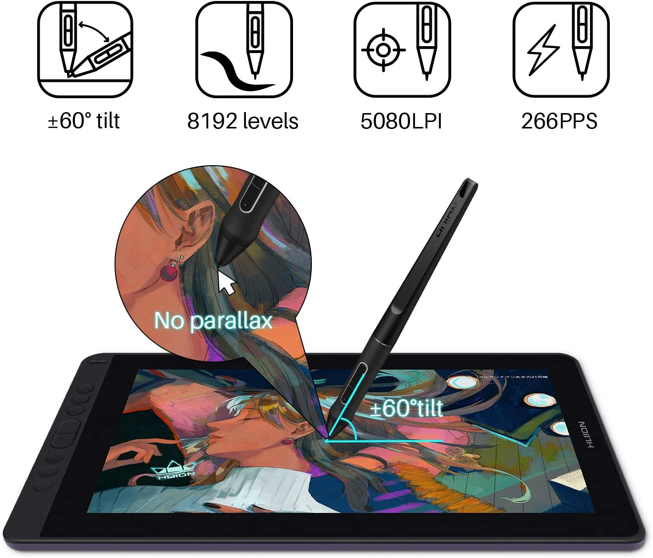 Come with Pen Tech 3.0 Battery-Free Pen 13.3 Inch Full-laminated Screen First Pen Display that Supports Connectivity with Android. Violet Purple HUION Graphics Tablet with Screen Kamvas 13